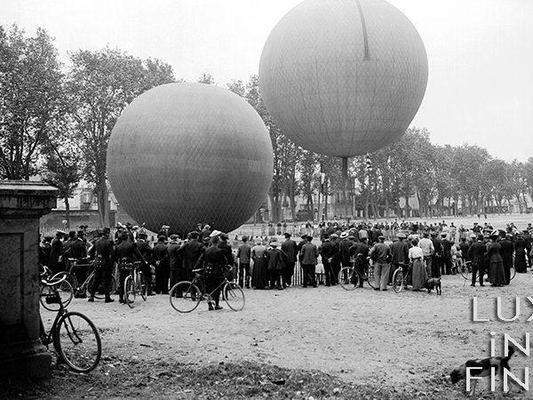 Lancement de deux ballons, Tours, Champ de Mars, 1905